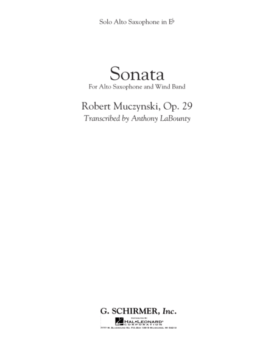 Sonata for Alto Saxophone, Op. 29 - Solo Eb Alto Saxophone