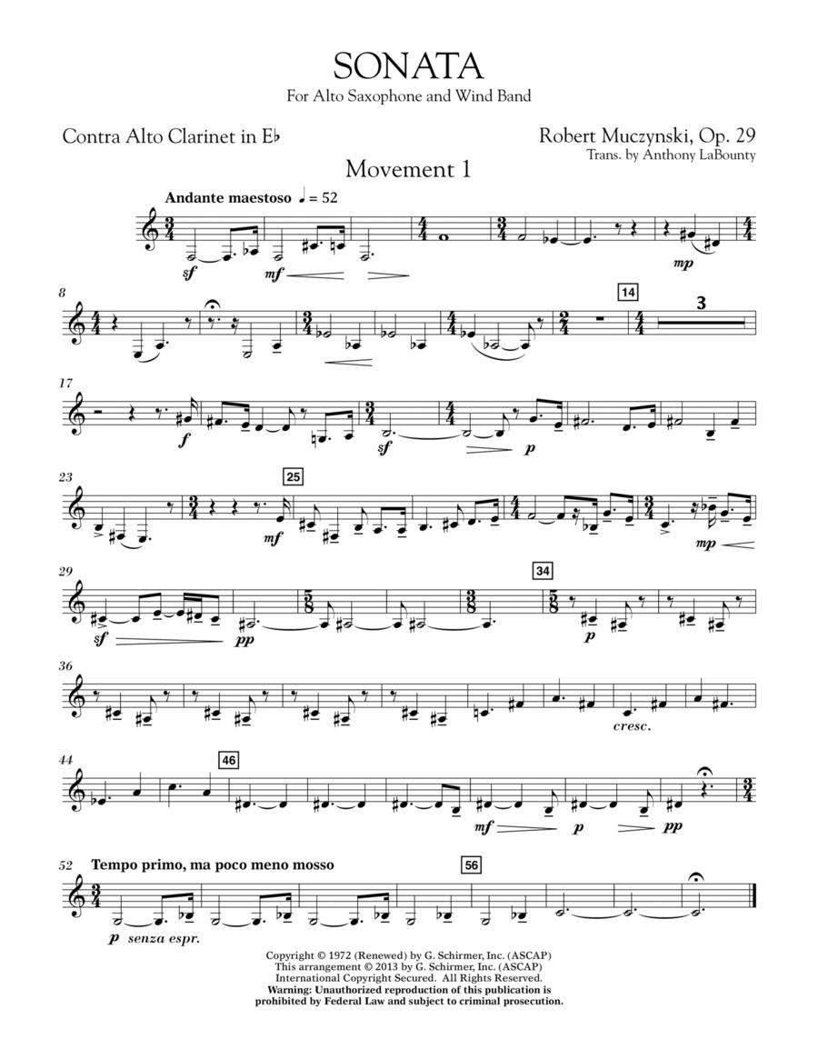 Sonata for Alto Saxophone, Op. 29 - Eb Contra Alto Clarinet