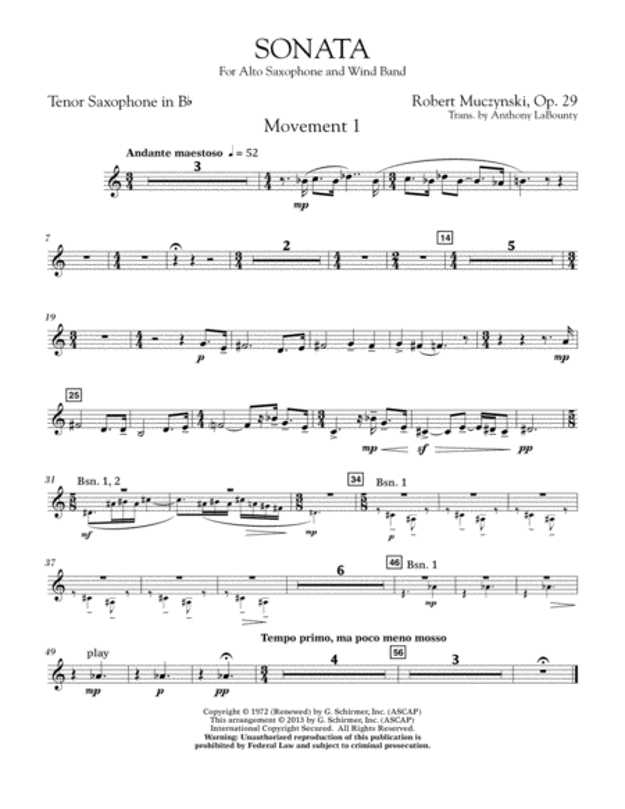 Sonata for Alto Saxophone, Op. 29 - Bb Tenor Saxophone