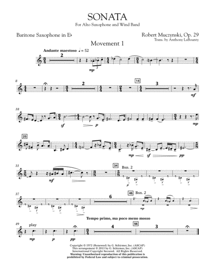 Sonata for Alto Saxophone, Op. 29 - Eb Baritone Saxophone