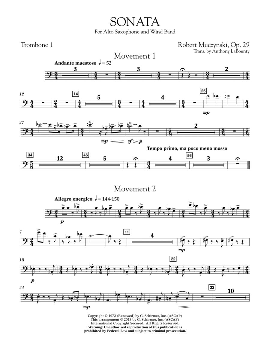 Sonata for Alto Saxophone, Op. 29 - Trombone 1