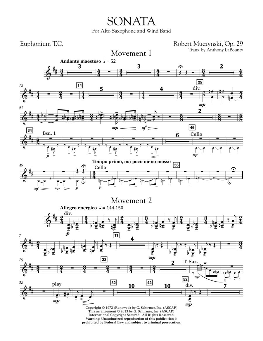 Sonata for Alto Saxophone, Op. 29 - Euphonium in Treble Clef