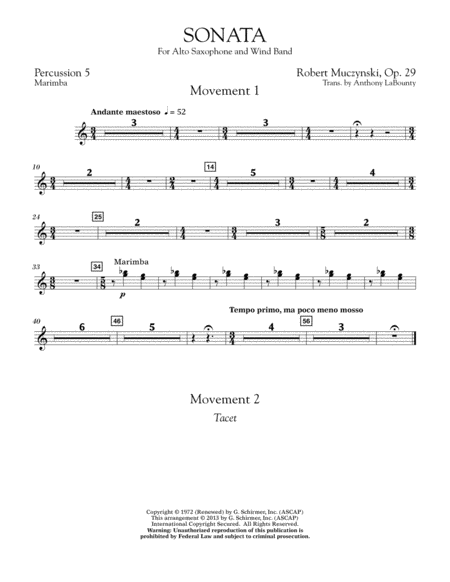 Sonata for Alto Saxophone, Op. 29 - Percussion 5