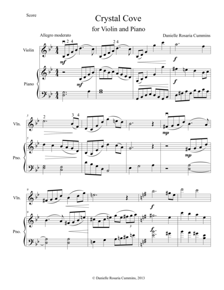 Crystal Cove: Duo for Violin and Piano