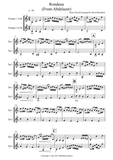 Rondeau (from Abdelazer) for Trumpet Duet