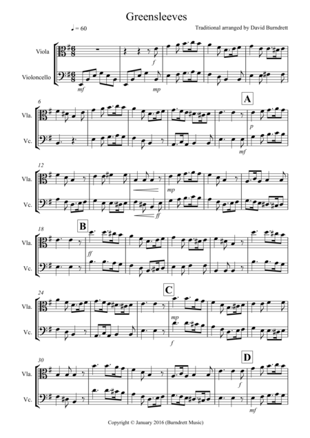Greensleeves for Viola and Cello Duet