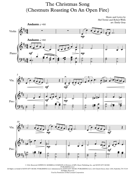 The Christmas Song (Chestnuts Roasting On An Open Fire) - Violin and Piano