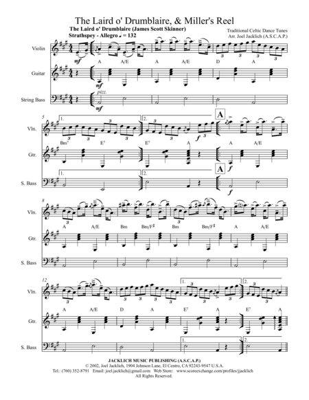 The Laird o' Drumblaire, & Miller's Reel (for Violin, Guitar, and String Bass)