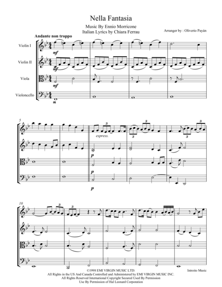 Nella Fantasia For String Quartet (Score and Parts)
