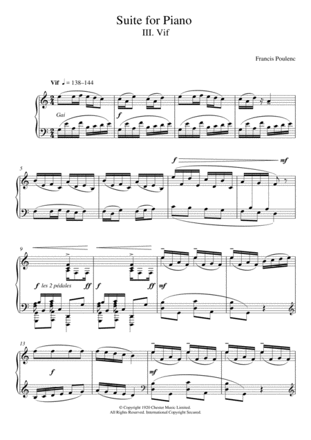 Suite for Piano - III. Vif