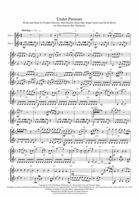 Queen & David Bowie: Under Pressure - brass duet (treble clef instruments)