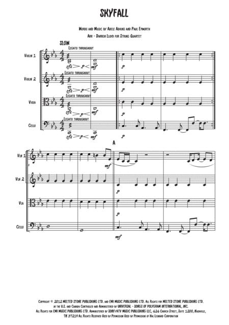 Skyfall for String Quartet