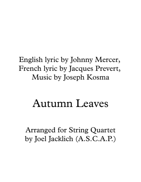 Autumn Leaves for String Quartet