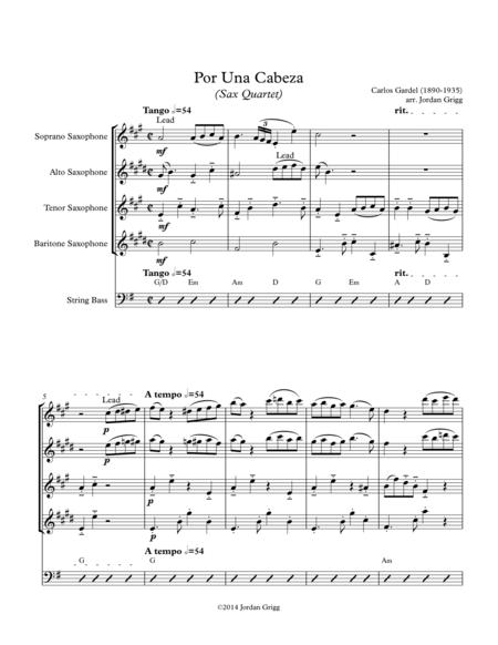 Por Una Cabeza (Sax Quartet)