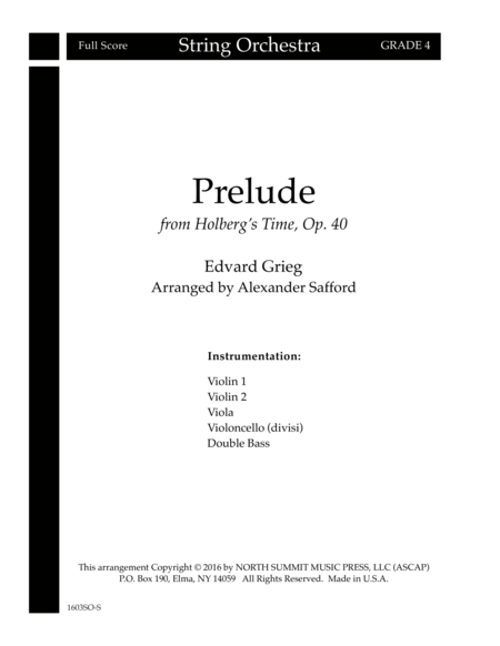 Prelude from Holberg's Time Op. 40 (Holberg Suite) Score