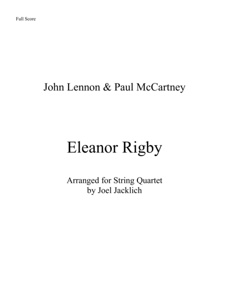 Eleanor Rigby (for String Quartet)