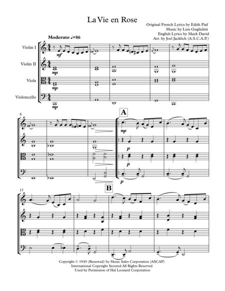 La Vie En Rose (for String Quartet)