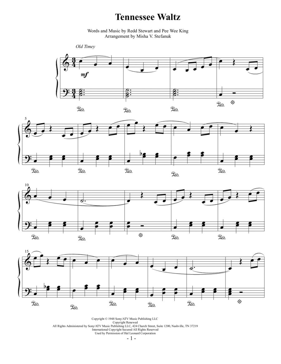 Tennessee Waltz, easy piano solo