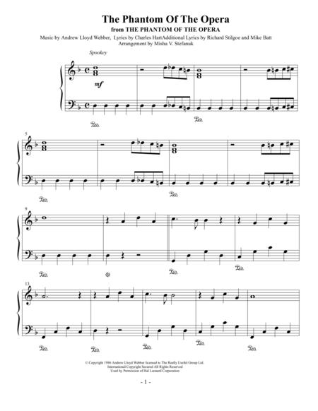 The Phantom of the Opera, easy piano solo