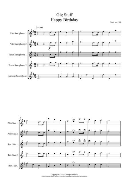 A Collection of Useful Gig Tunes:(Happy Birthday, God Save the Queen etc) - saxophone quintet