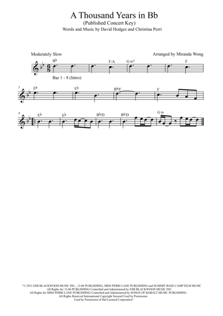 A Thousand Years - Flute, Piano and Cello in Published Bb Key