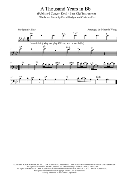 A Thousand Years - Cello and Piano in Published Bb Key