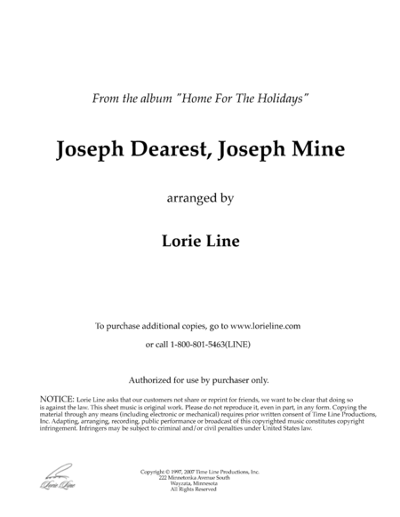Joseph Dearest, Joseph Mine (from Home For The Holidays)