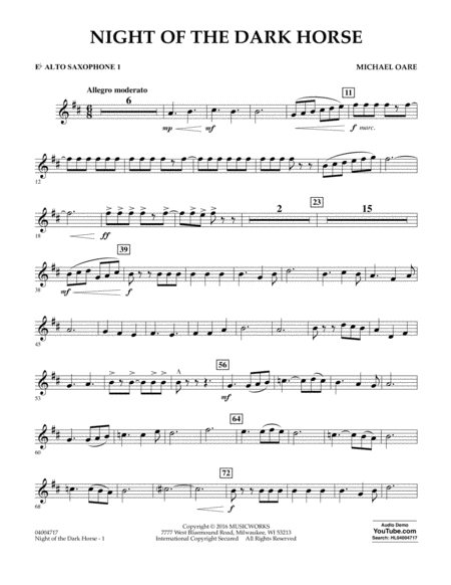 Night of the Dark Horse - Eb Alto Saxophone 1