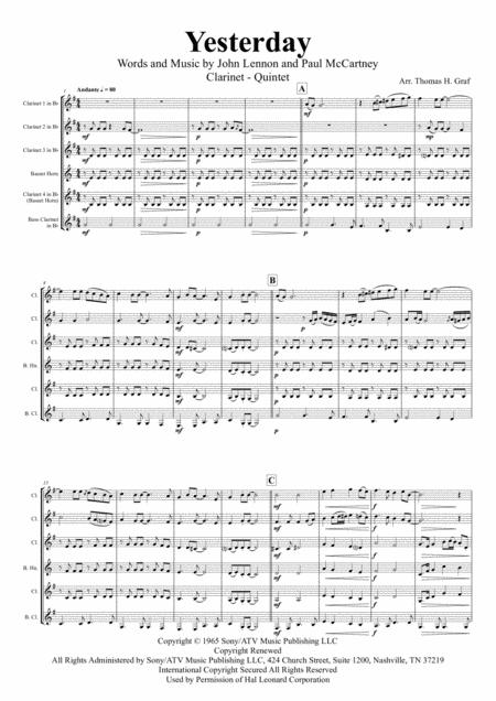 Yesterday - Beatles Classic - Clarinet Quintet