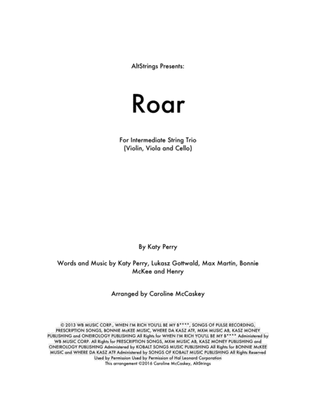 Roar - String Trio (Violin, Viola and Cello)