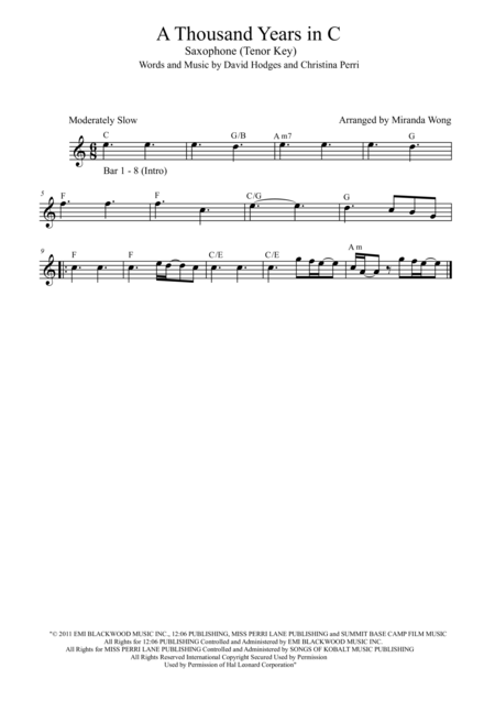 A Thousand Years - Tenor Saxophone and Piano Accompaniment in Published Bb Key