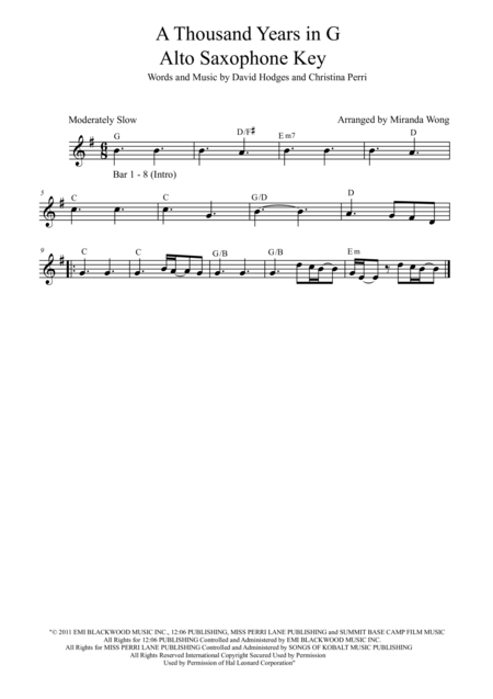 A Thousand Years - Alto Saxophone and Piano Accompaniment in Published Bb Key