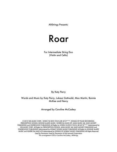 Roar - Violin and Cello Duet