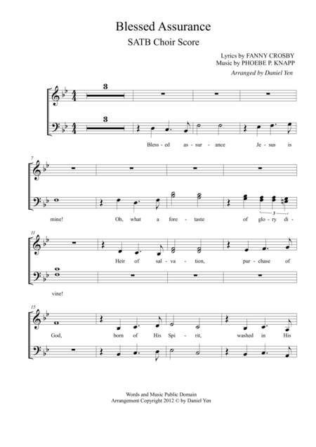 Blessed Assurance for SATB Choir (contemporary worship style)