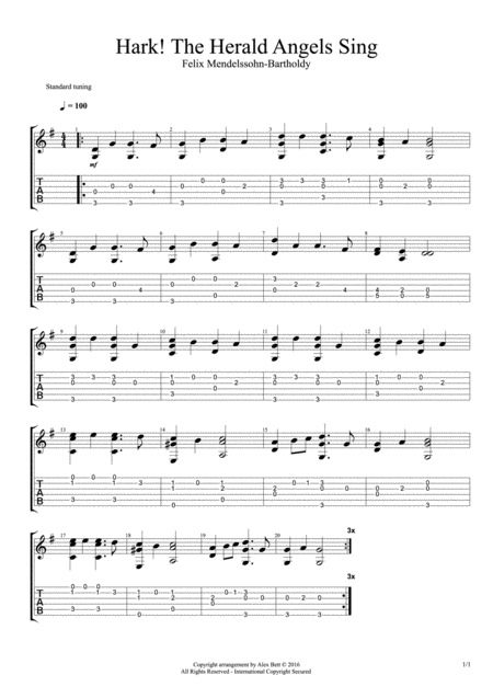Hark! The Herald Angels Sing (Classical / Acoustic Solo Guitar)