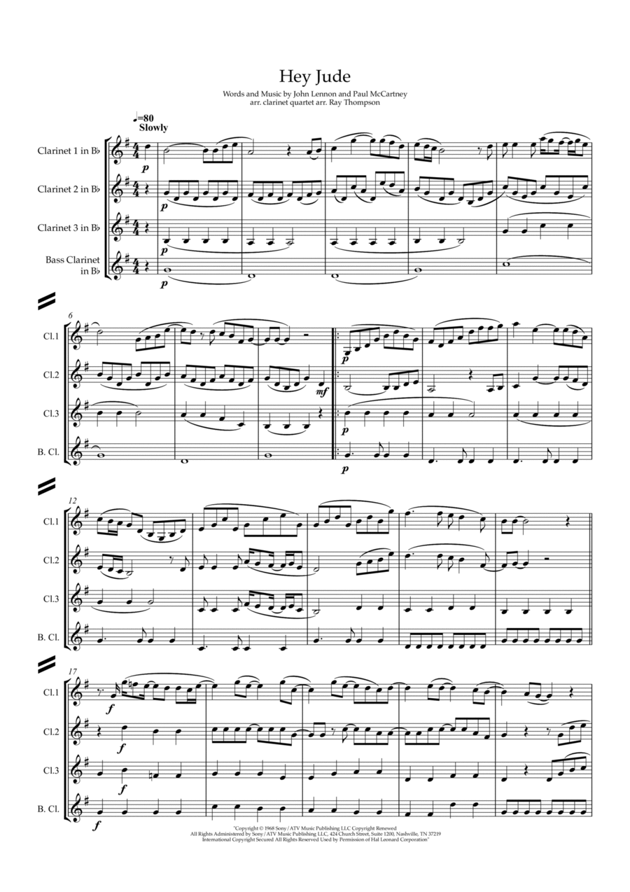The Beatles: Hey Jude - clarinet quartet