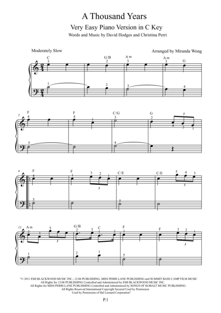A Thousand Years - Very Easy Piano Solo in C Key (With Fingerings)