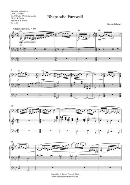 Organ Rhapsodic Farewell by Simon Peberdy