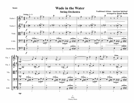 Wade in the Water - String Orchestra or String Quartet - Intermediate