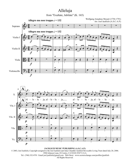 Alleluja from Exultate Jubilate, K. 165 (for Soprano and String Quartet)