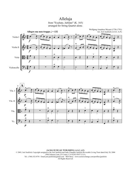 Alleluja from Exultate Jubilate, K. 165 (for String Quartet)