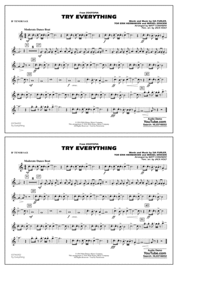 Try Everything (from Zootopia) - Bb Tenor Sax