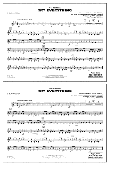 Try Everything (from Zootopia) - Eb Baritone Sax