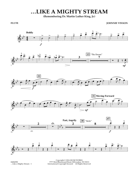 Like a Mighty Stream (for Concert Band and Narrator) - Flute