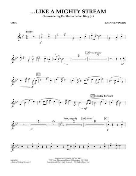 Like a Mighty Stream (for Concert Band and Narrator) - Oboe