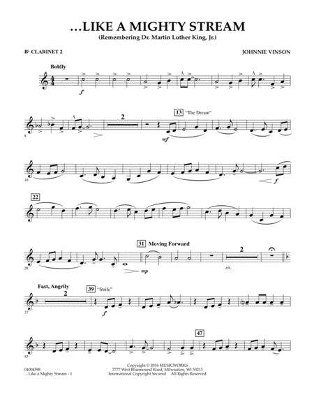 Like a Mighty Stream (for Concert Band and Narrator) - Bb Clarinet 2