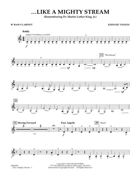 Like a Mighty Stream (for Concert Band and Narrator) - Bb Bass Clarinet