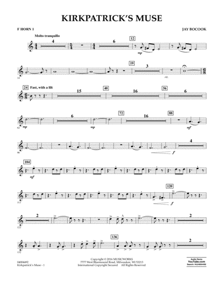 Kirkpatrick's Muse - F Horn 1