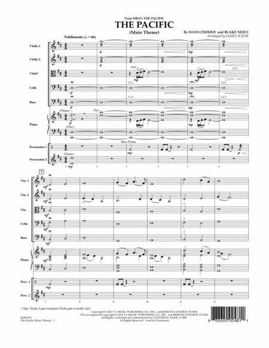 The Pacific (Main Title) - Conductor Score (Full Score)