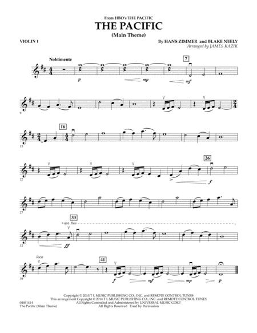 The Pacific (Main Title) - Violin 1